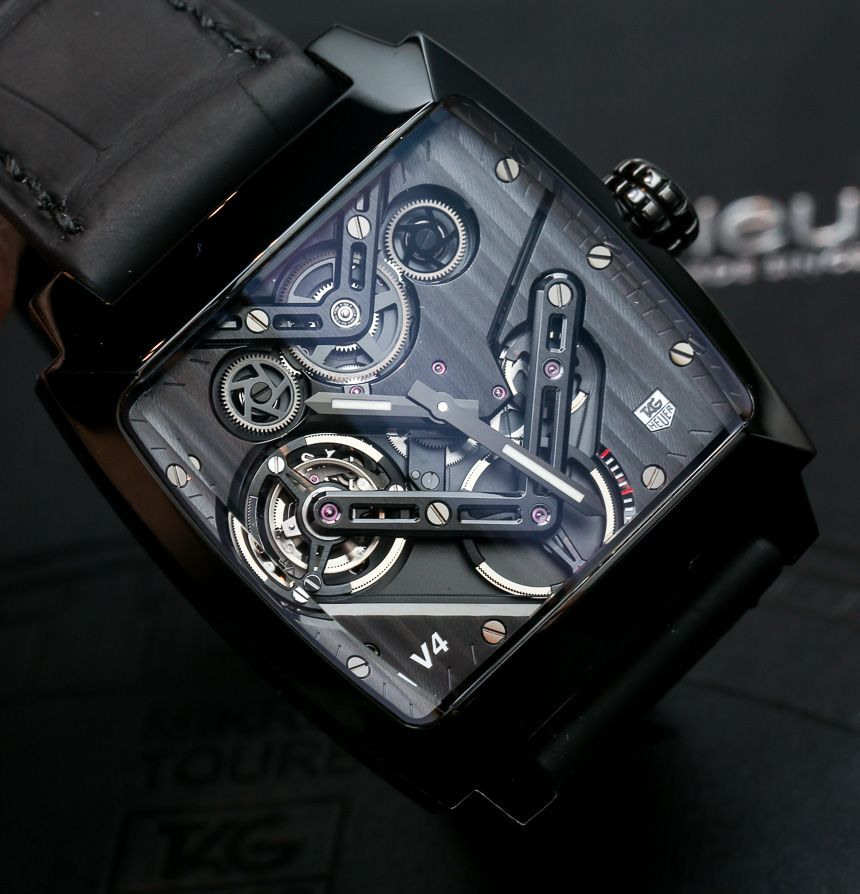 """TAG Heuer Monaco V4 Tourbillon Watch Hands-On - by Ariel Adams - See the full photo gallery, our video interview about it with TAG Heuer's CEO, and read more on aBlogtoWatch.com """"For 2014, TAG Heuer presents an even higher-end version of the watch that began 'high-end TAG Heuer.' ...Bored by your normal tourbillon watches? How about you try a belt-driven tourbillon on for size..."""" #ABTWBaselworld2014"""