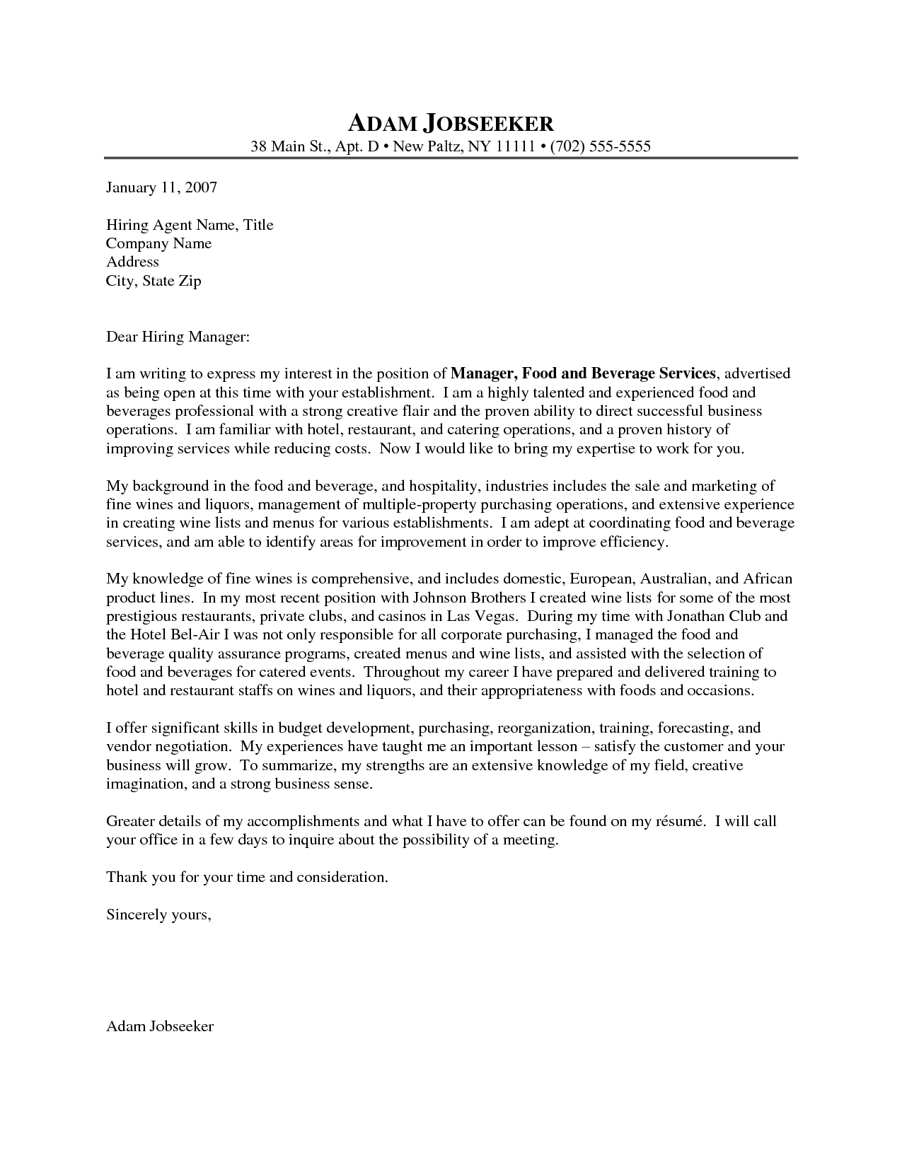 Cover Letter Resume Food Beverage Manager