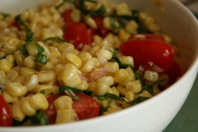 Corn Salad with Basil and Tomatoes