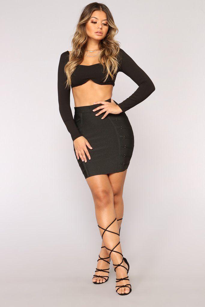 7a79716f55 Material Girl Bandage Skirt - Black in 2019 | Fashion Nova | Skirts ...