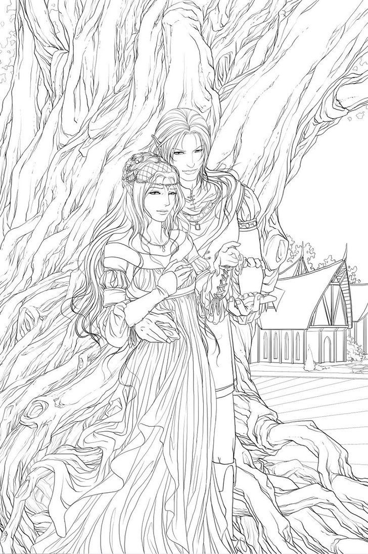 Couple Fairy Coloring Pages Coloring Pages Adult Coloring Pages