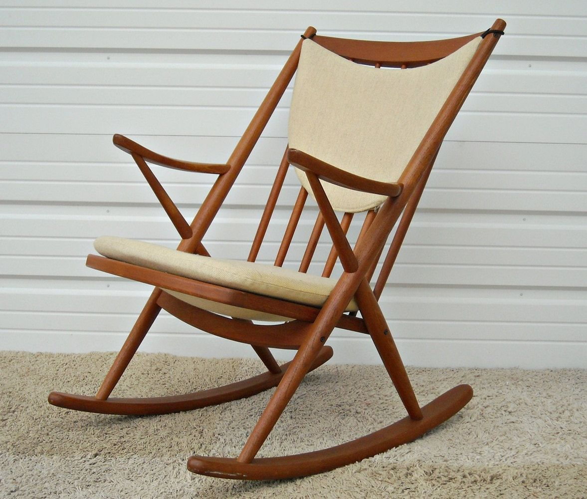 Danish Modern Rocking Chair Glider And Ottoman Replacement Cushions Bramin Brahmin Rocker Mid Century Reenskaugh Mobler Frank Teak 1 050 00 Via Etsy