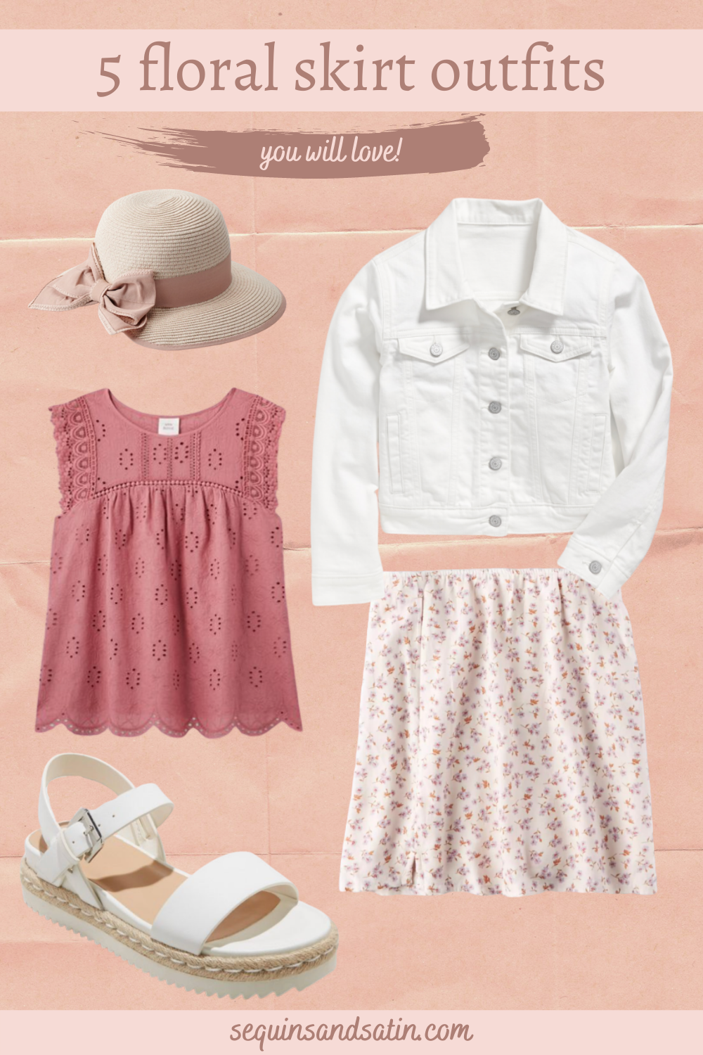 Hey there girlie! In this post I will be sharing 5 easy and cute skirt outfits styled with a casual skirt! These looks all included a floral skirt and are perfect for summer or spring fashion! This post can also help you to find out how to style skirts if you need a little help! I will be including a few of the best pink floral skirts as well that are all very affordable. #skirtoutfit #womensfashion #style #girlyfashion #springfashion #summerfashion #skirt
