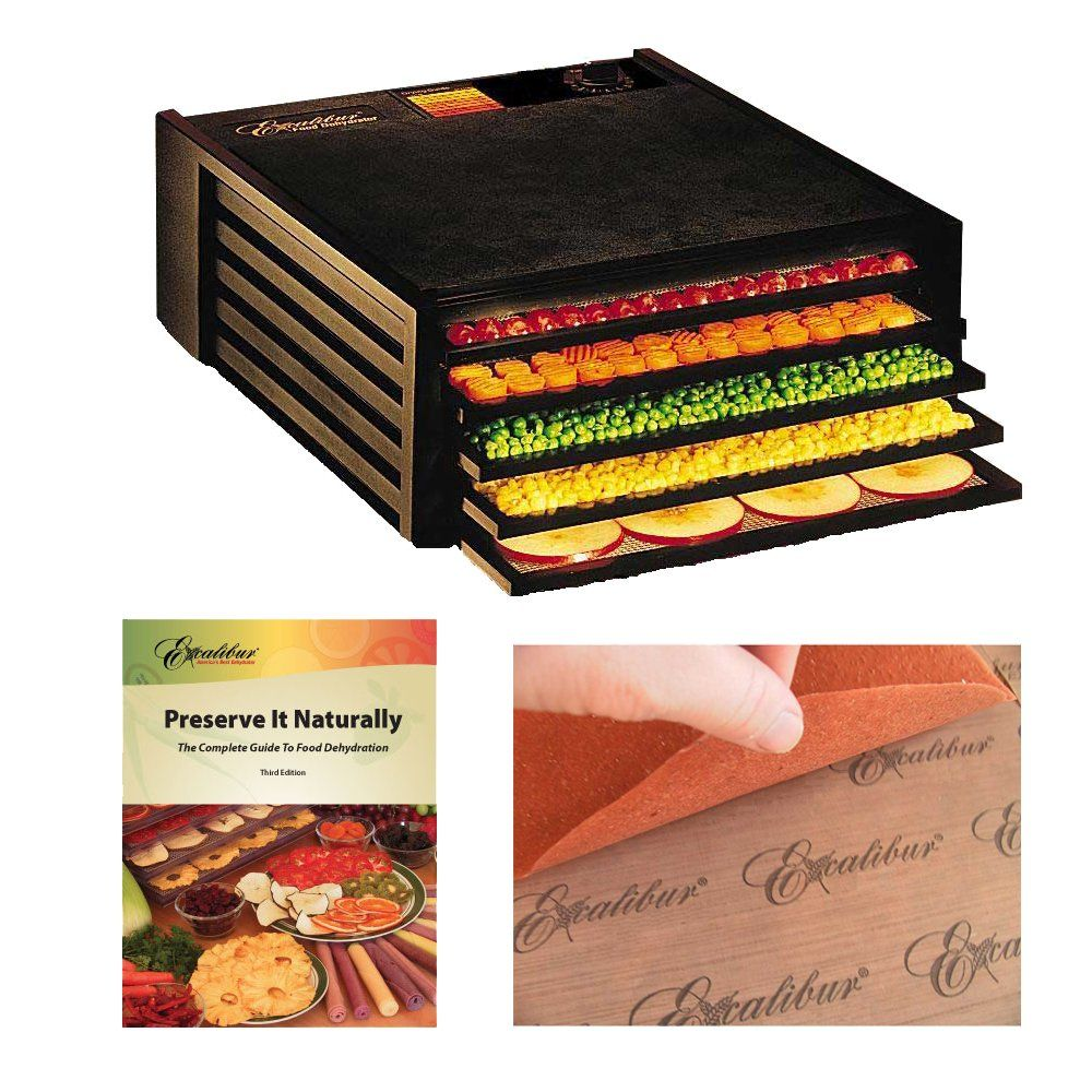 Excalibur 3500B Dehydrators 5 Tray Deluxe Counter Size Food Dehydrator Black + Accessory Kit