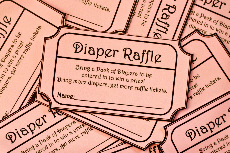 Pink Printable Baby Shower Diaper Raffle Ticket. $6.00, Via Etsy.