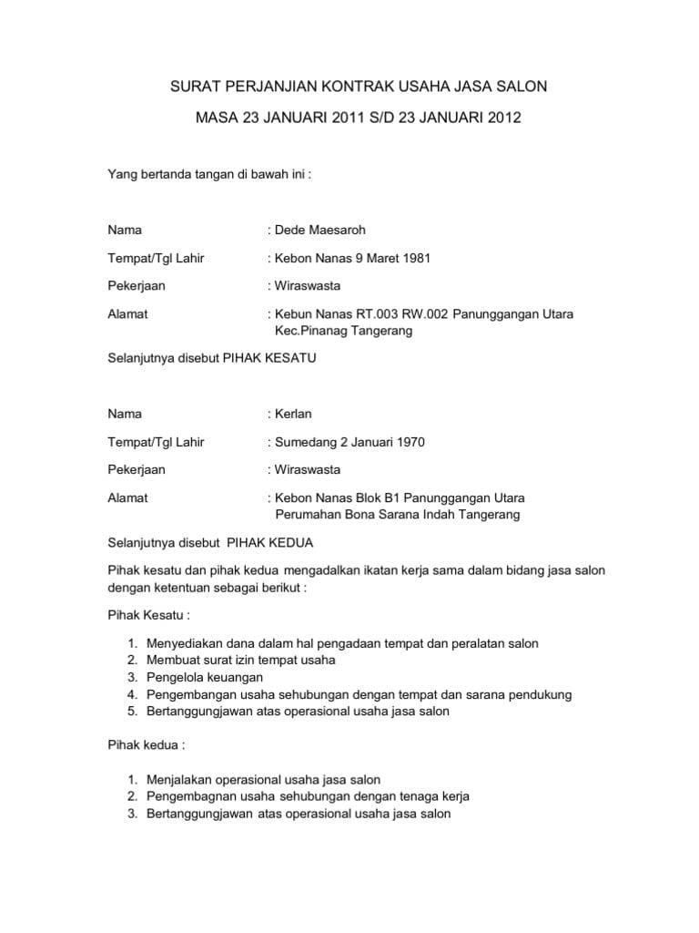 Contoh Surat Perjanjian Legal Drafting Surat Tablet Desain