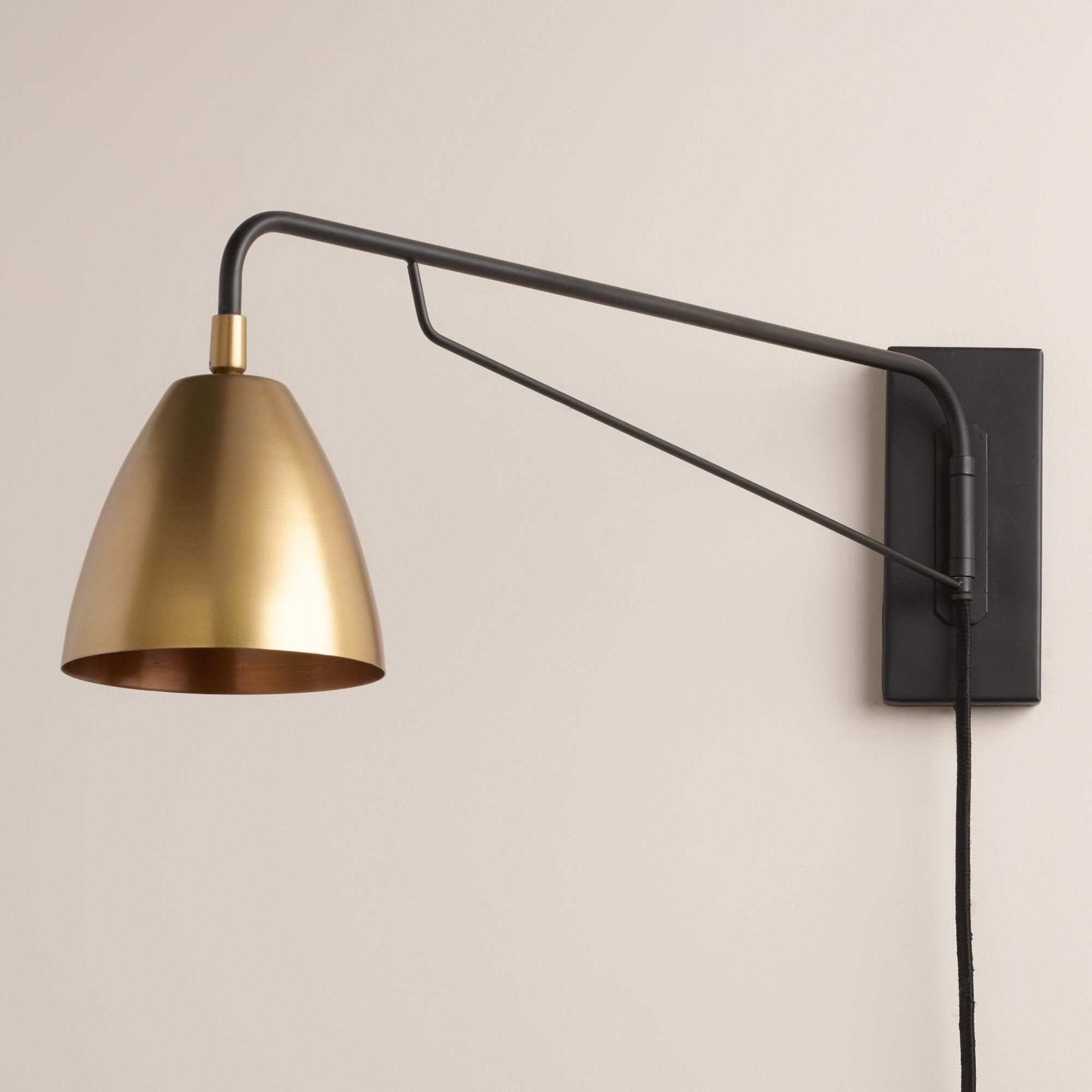 Vintage Bedside Wall Lamps : Brass Nook Pivoting Wall Sconce Mid century modern design, Lighting solutions and Antique brass