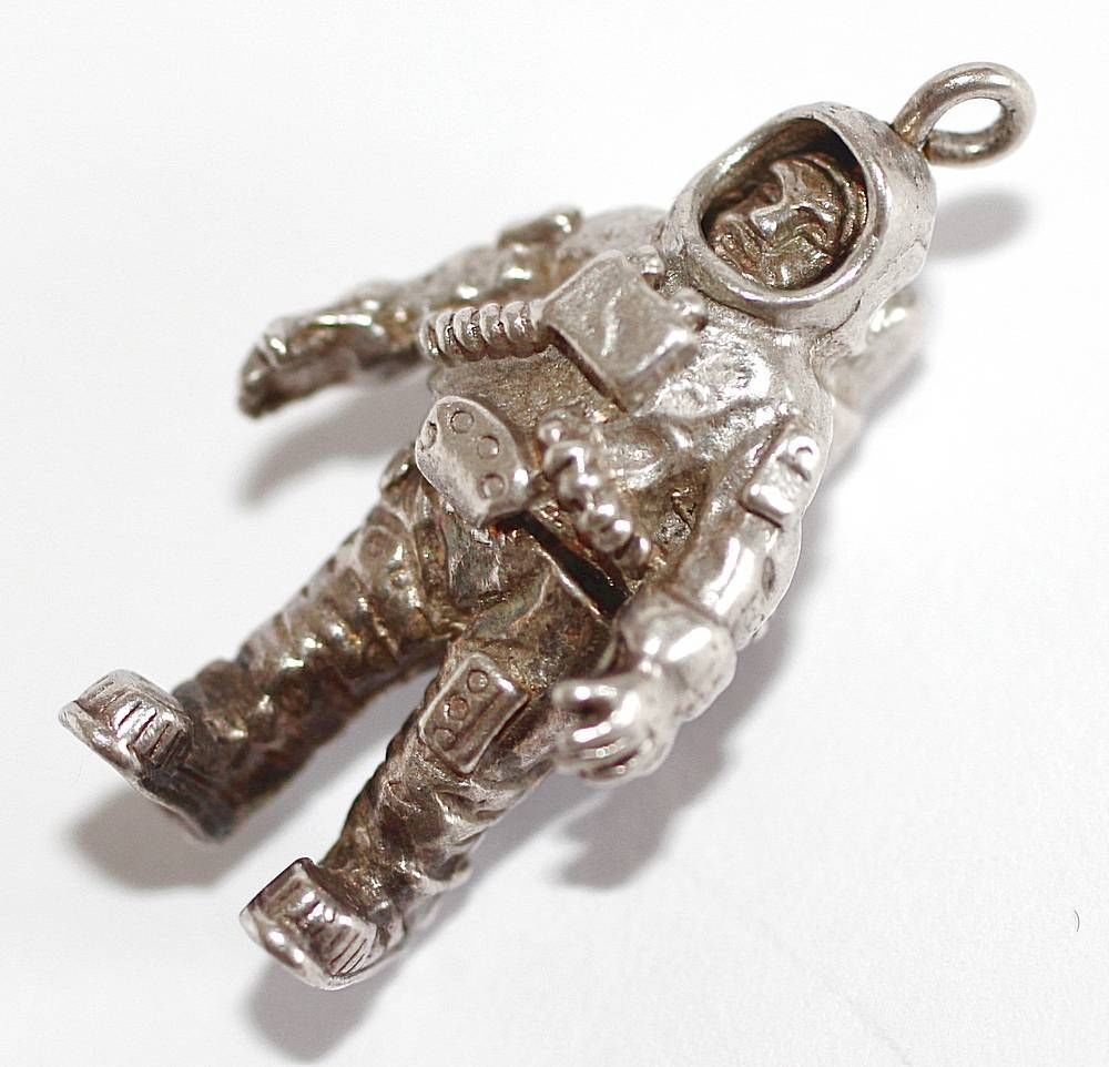 Rare Vintage Moving Space Astronaut English Sterling Silver Bracelet Charm