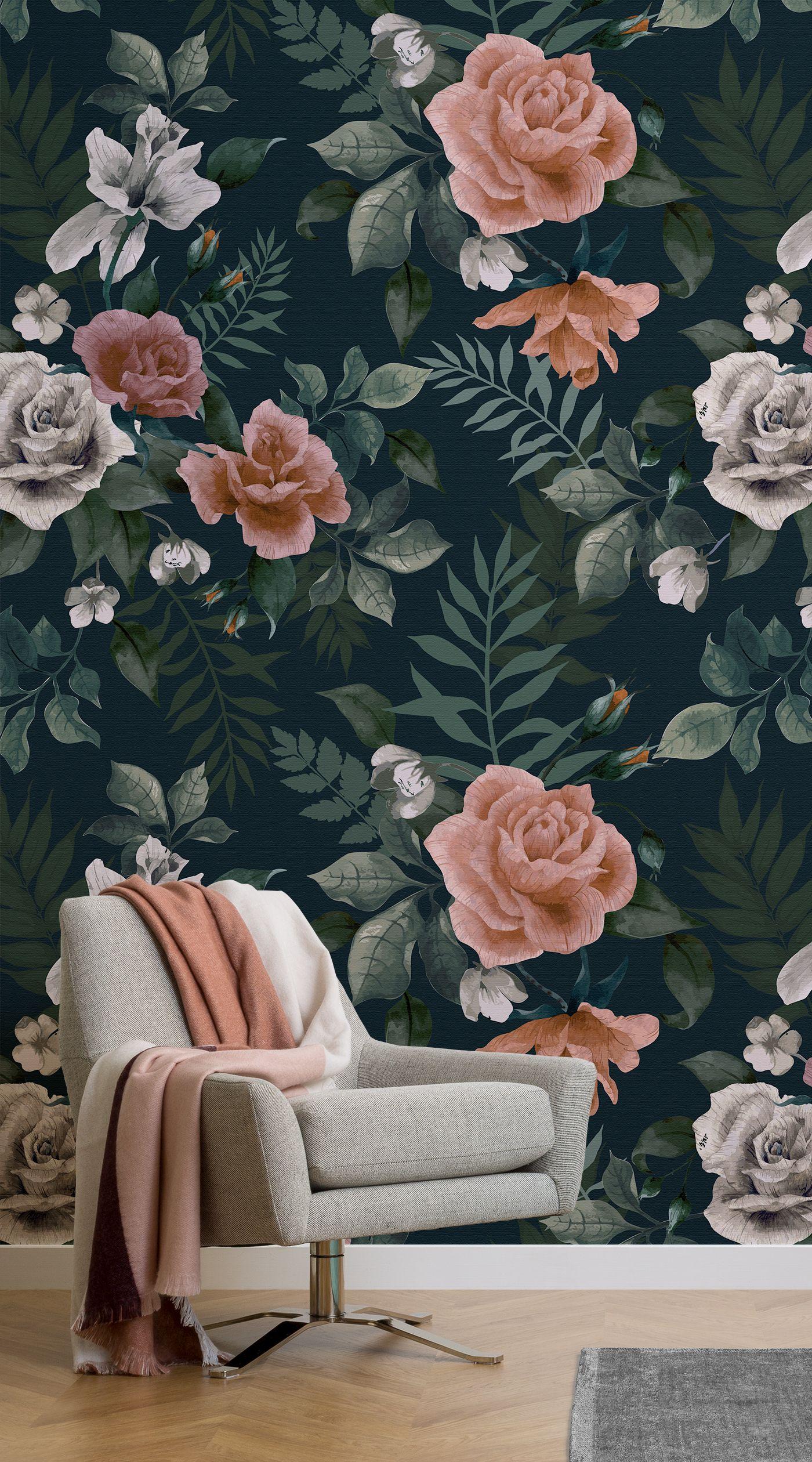 4 Wallpaper Ideas To Create A Glamorous Interior Murals Wallpaper Green Floral Wallpaper Pink Floral Wallpaper Wallpaper Living Room