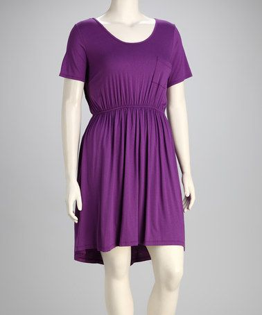 This Purple Front-Pocket Cutout Dress - Plus by Tua Plus is perfect! #zulilyfinds