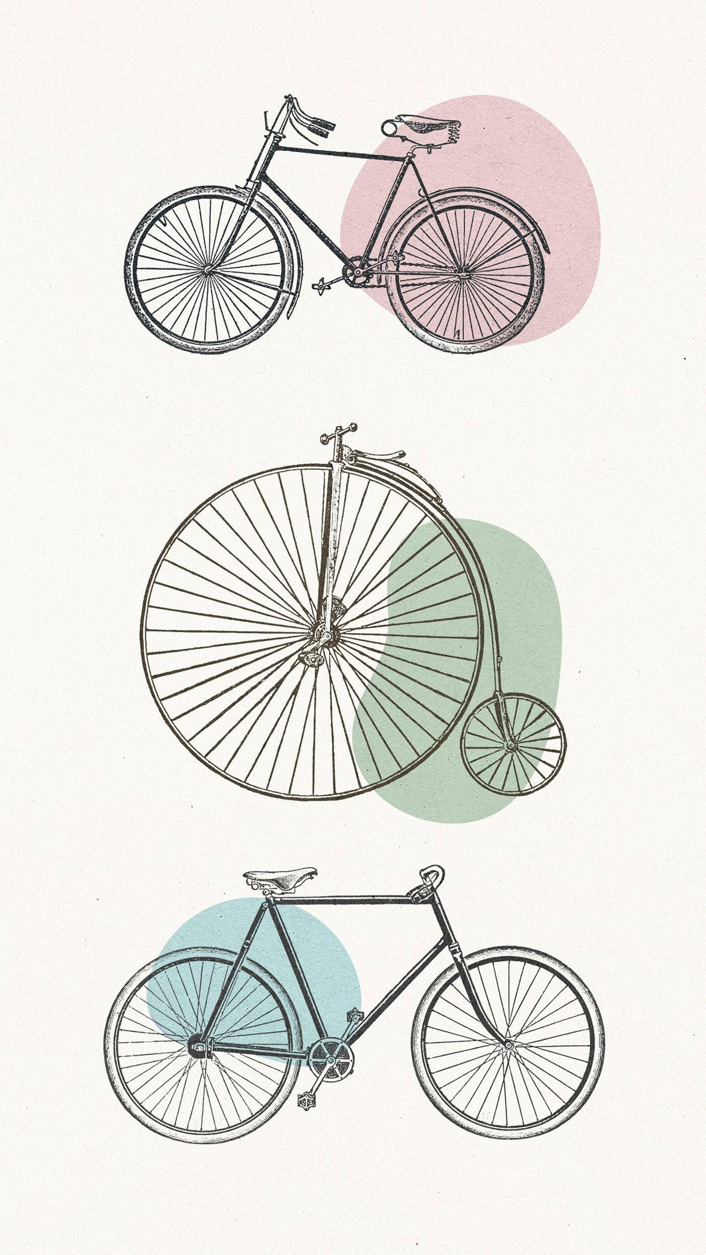 Vintage Bicycle Engraving Collection Illustrations Premium Image By Rawpixel Com Adj Hwangmangjoo Bicycle Illustration Bicycle Tattoo Bicycle Photography