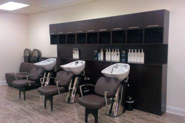 Backwash Shampoo Unit With Shampoo Cabinet Silk Salon@Port Washington, NJ    By Salon Interiors, Inc.