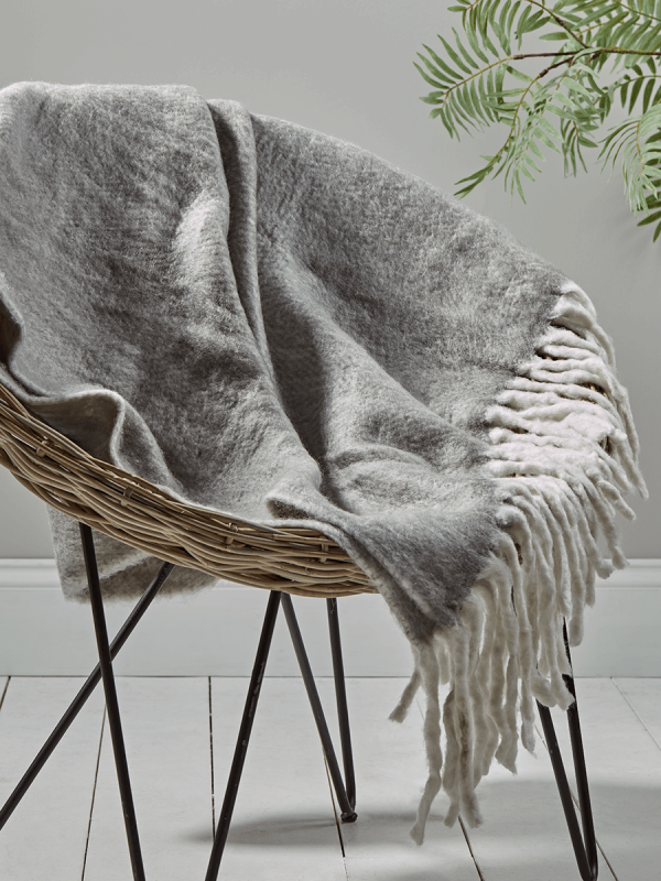 Soft Fringed Throw - Grey | Sofa bed throws, Bed throws ...