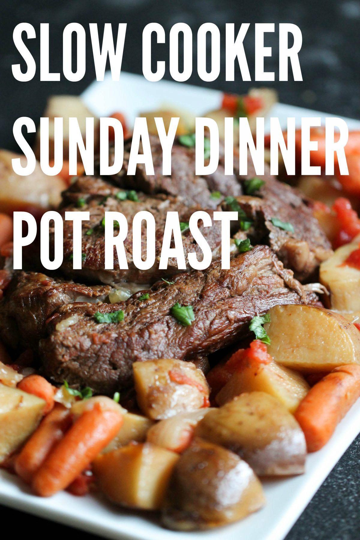 Slow Cooker Sunday Dinner Pot Roast and Gravy