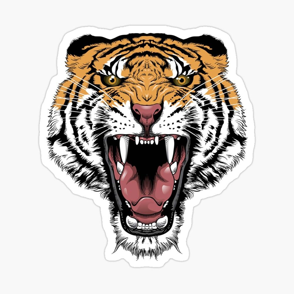 Get My Art Printed On Awesome Products Support Me At Redbubble Rbandme Https Www Redbubble Com I Sticker The Face O Angry Tiger Cartoon Tiger Tiger Poster