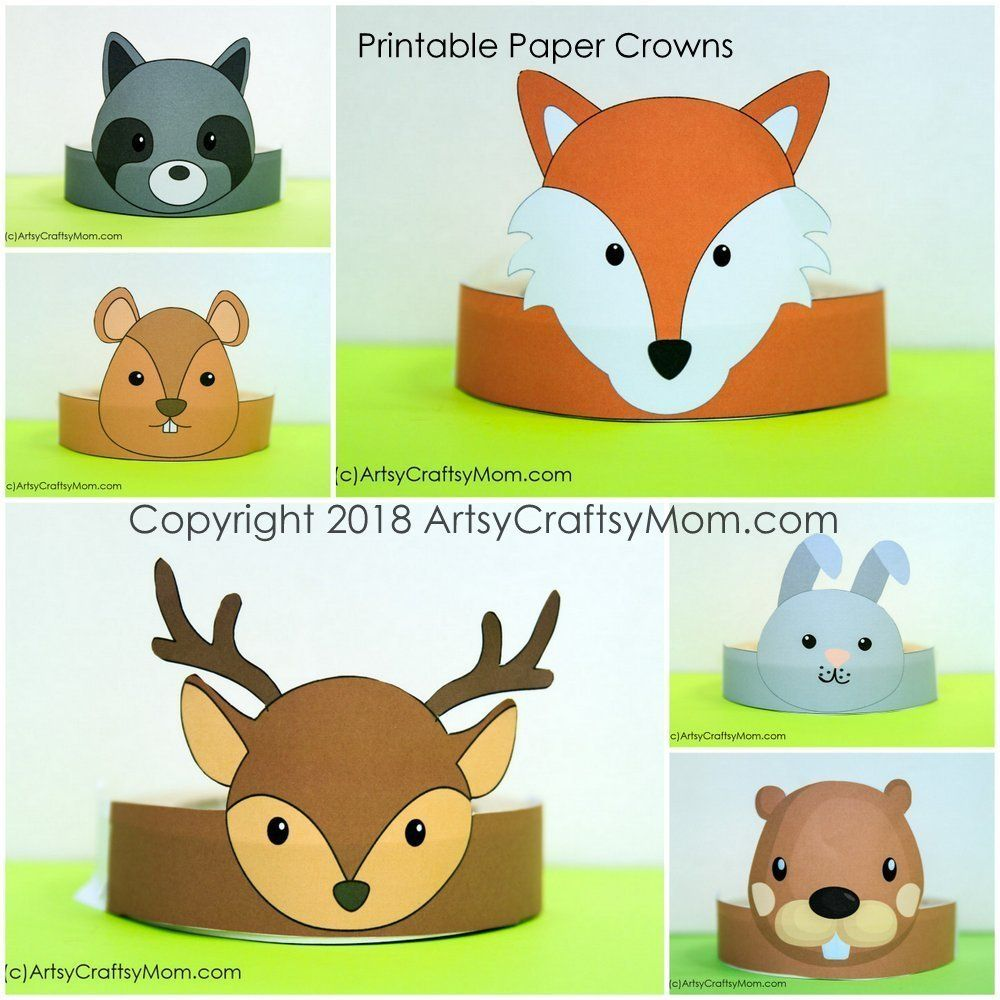Printable Woodland Animals Paper Crown Animals For Kids
