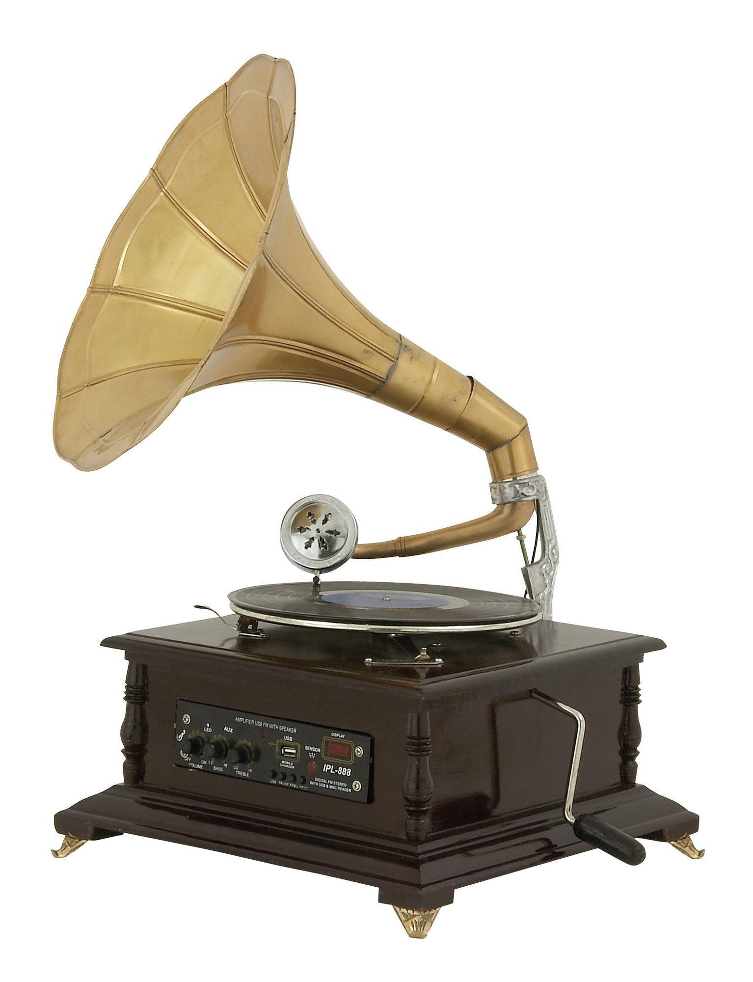 Wood Metal Gramophone Sculpture Wood And Metal Gramophone Vintage Metal