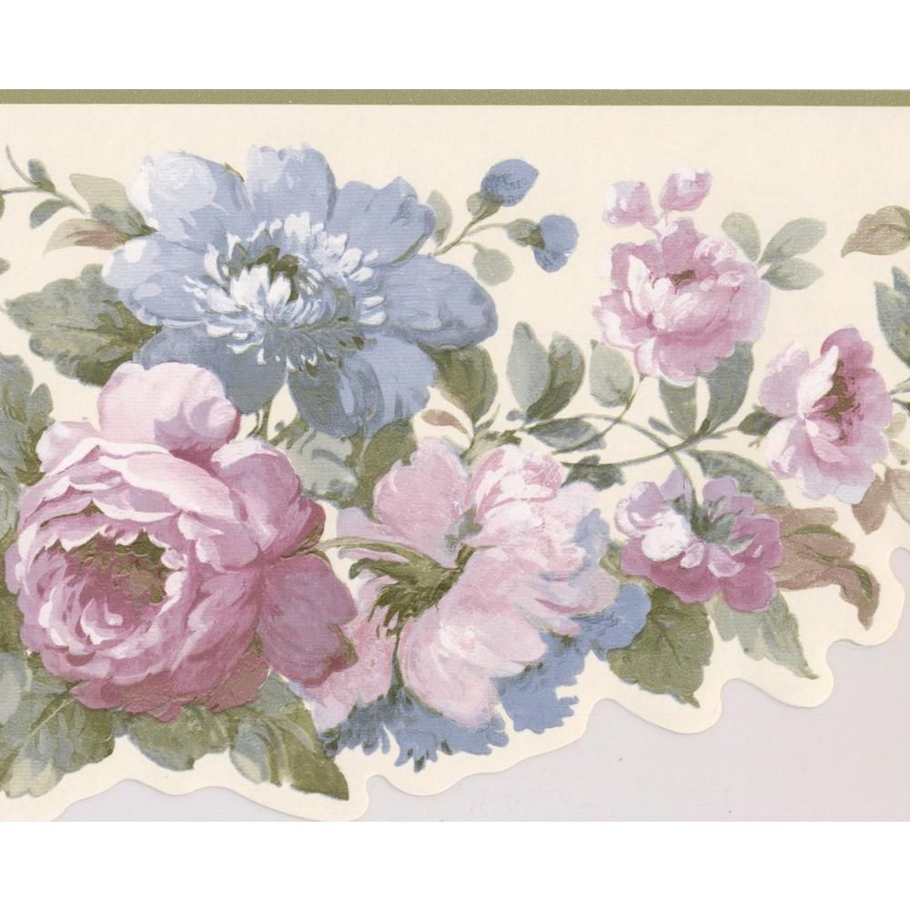 York Wallcoverings Blue Pink White Flowers in Bouquet