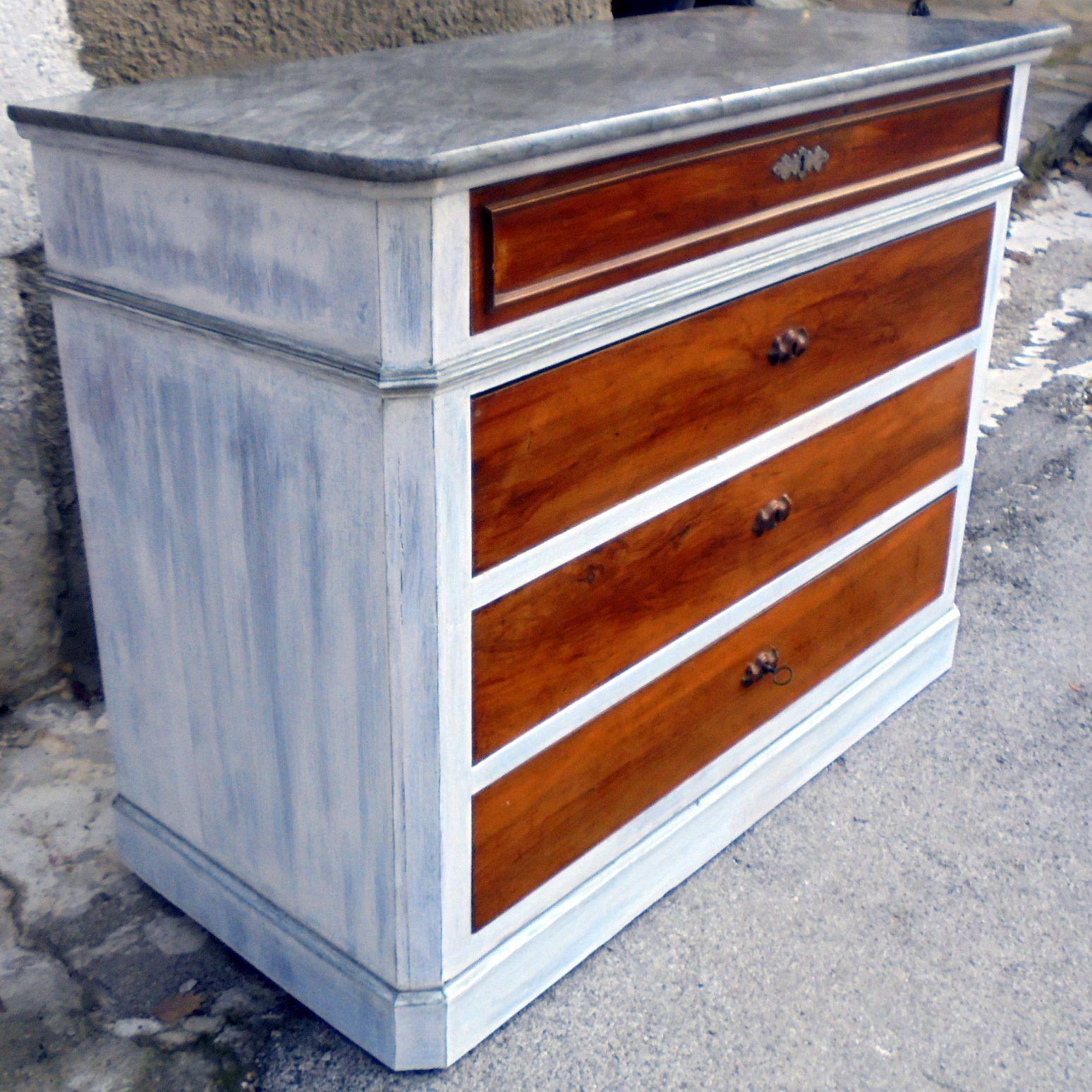 Patine Blanche Sur Bois commode marbre, bois ciré et patine blanche   commode, bois