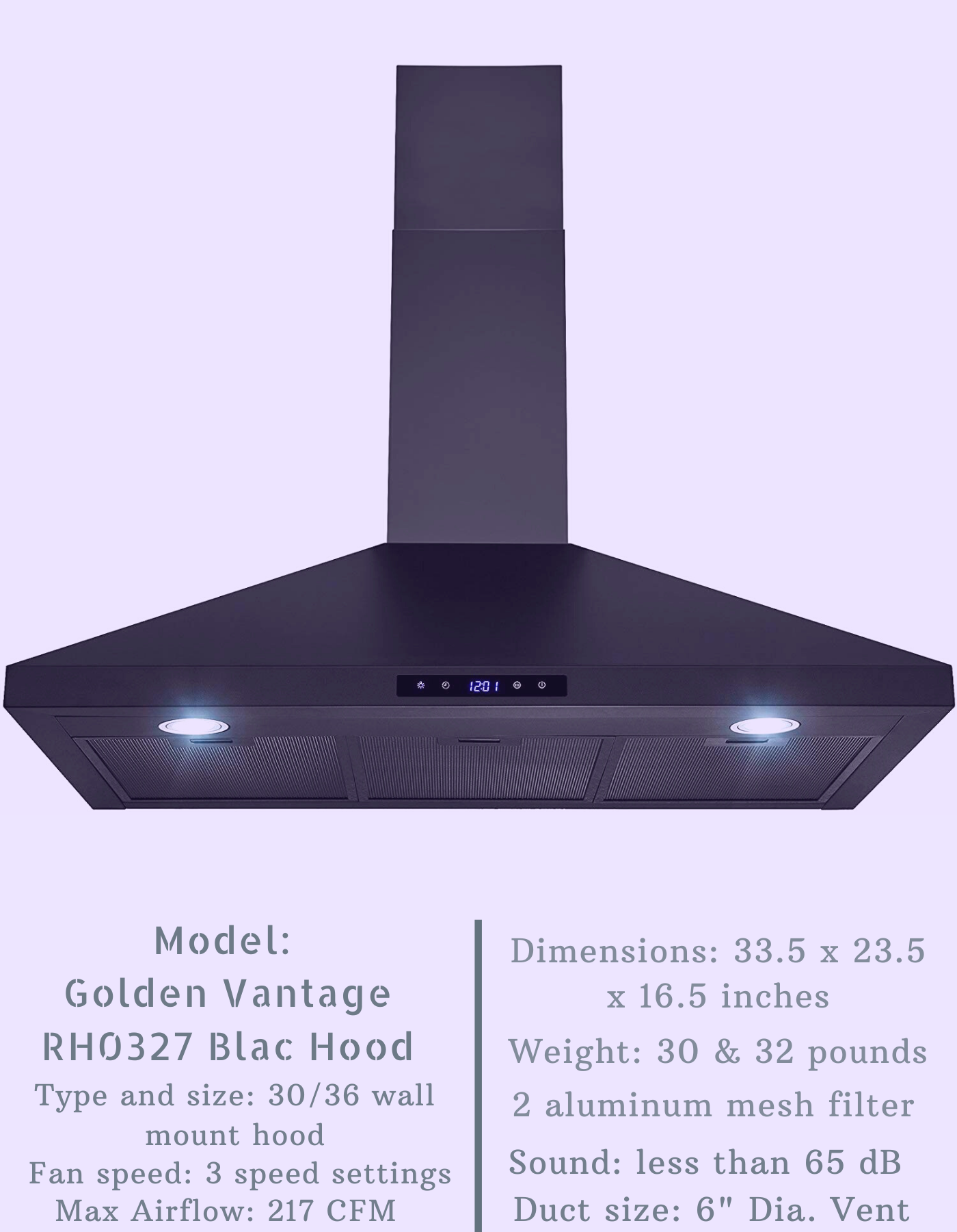 Golden Vantage Rh0327 Black Range Hood In 2020 Wall Mount Range Hood Range Hood Reviews Range Hood
