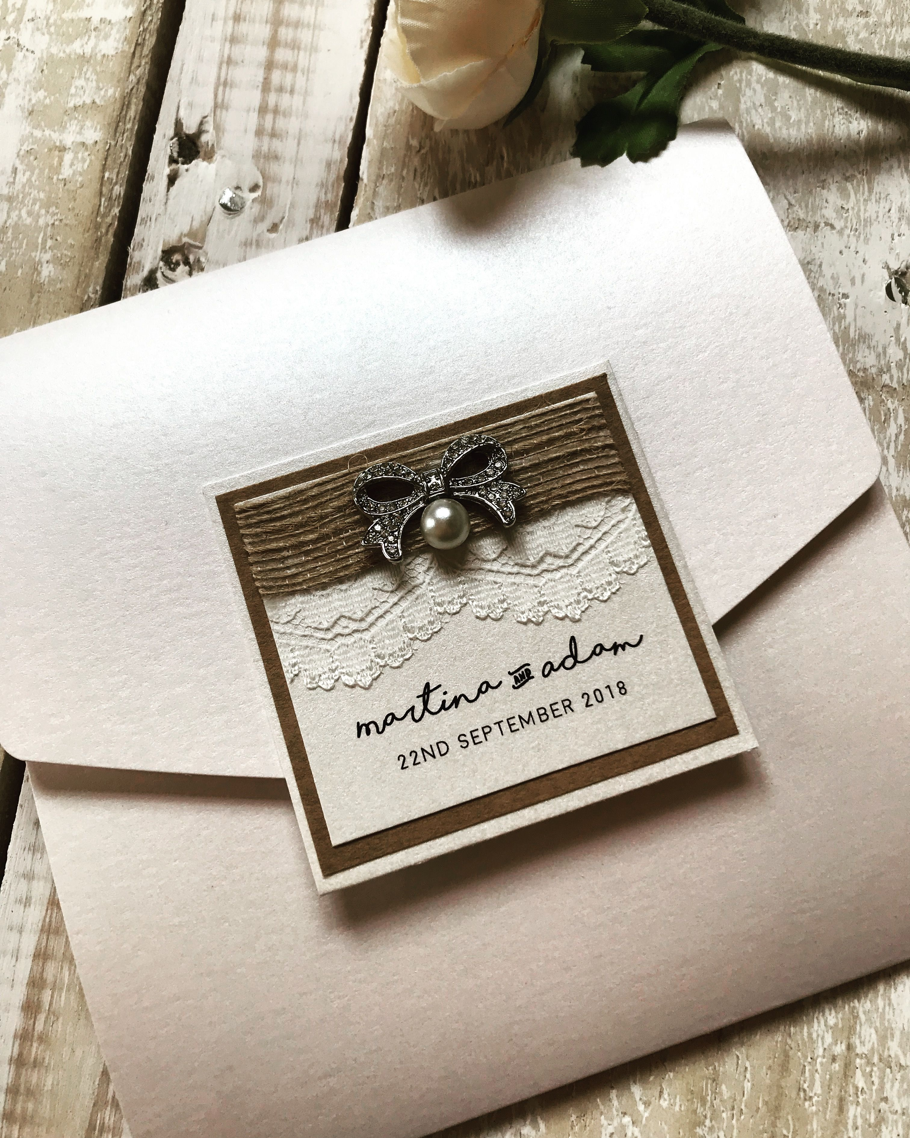 Rustic Glam Wedding Invitation Boho Chic