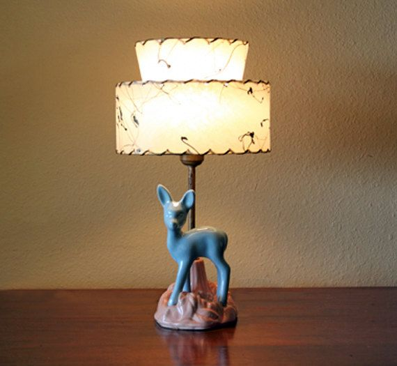 Vintage Nursery Ceramic Figural Deer Lamp With Two Tier Fiberglass Lampshade