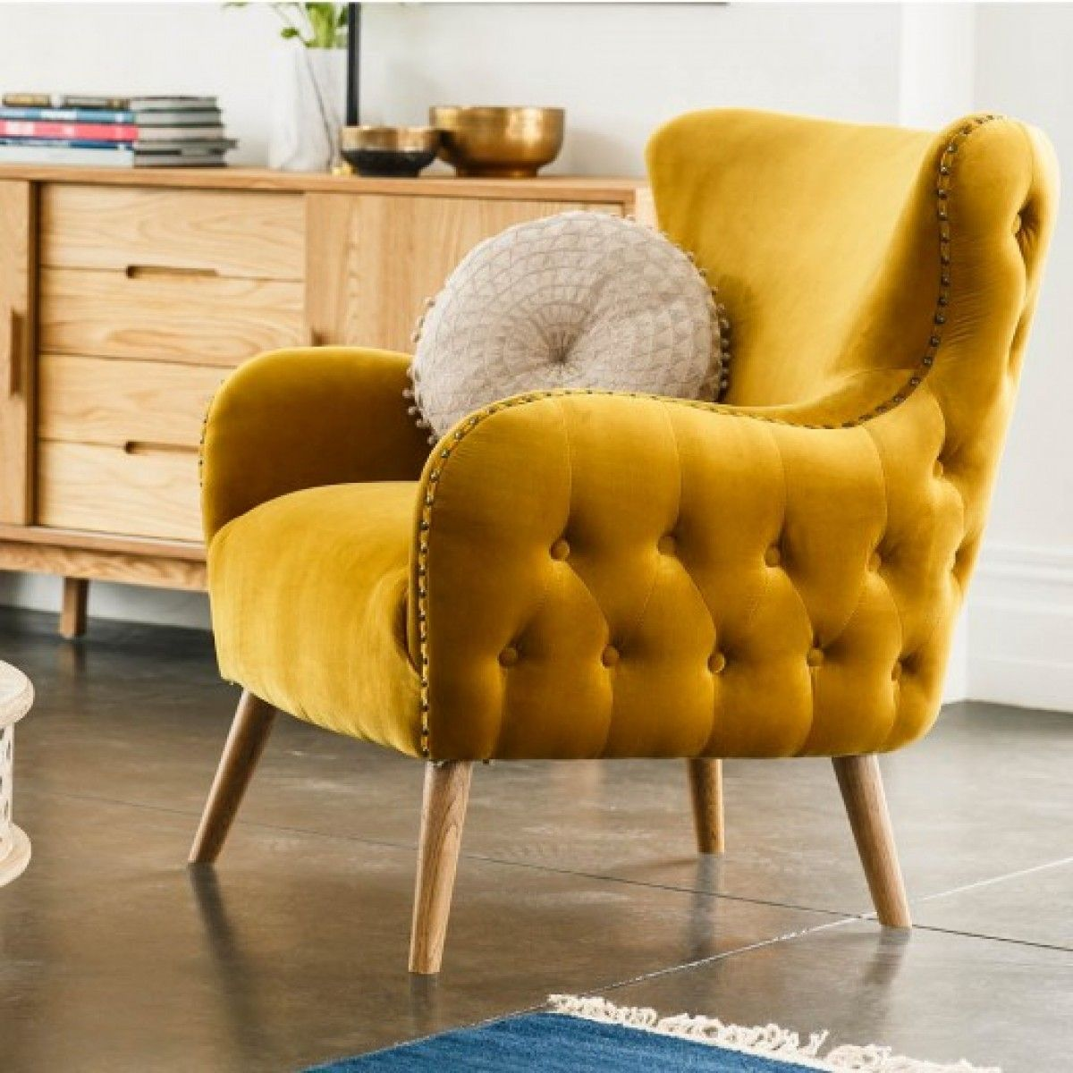 999 Clementine Armchair Gold With Oak Legs Early Settler Living Room Upholstery Couch Upholstery Furniture Upholstery