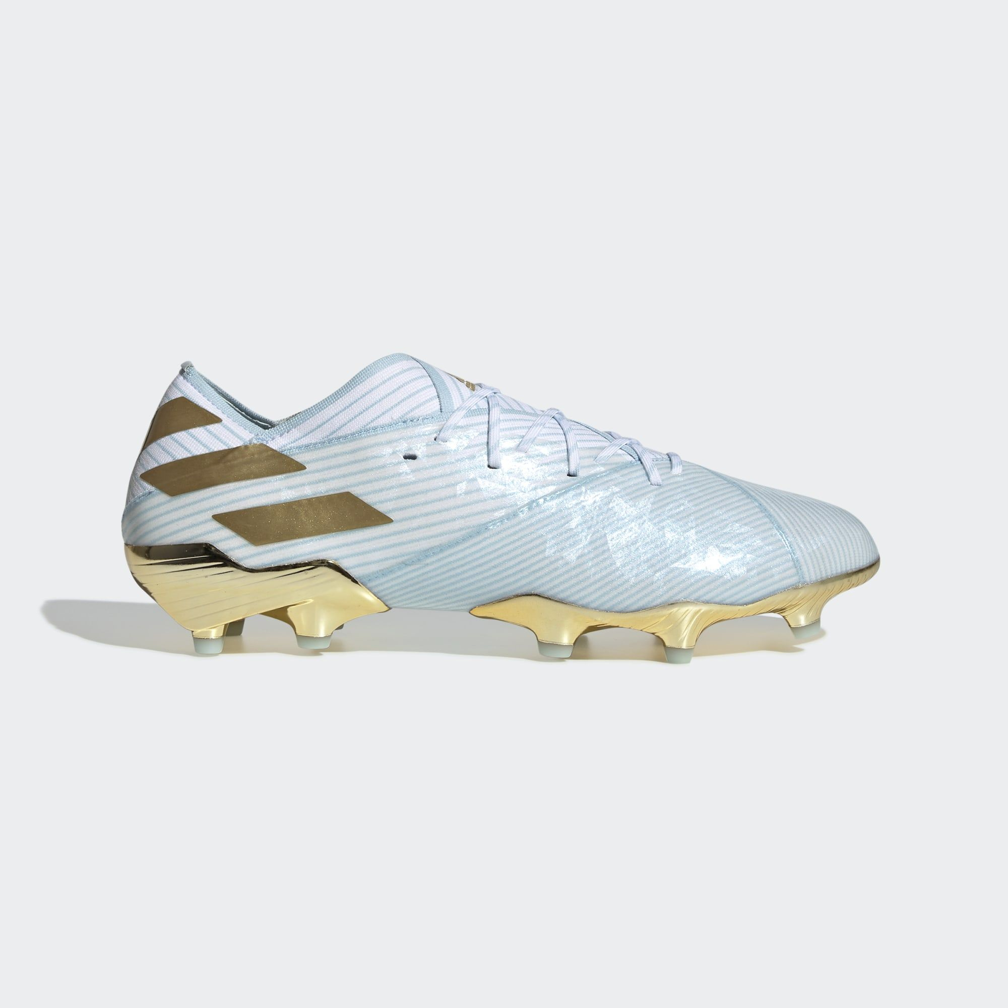Adidas Nemeziz Messi 19 1 15 Year Fg Bold Aqua Gold Met Cloud White Soccer Cleats Adidas Soccer Cleats Football Boots