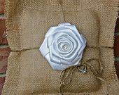 Burlap pillow ring bearer. Wedding pillow