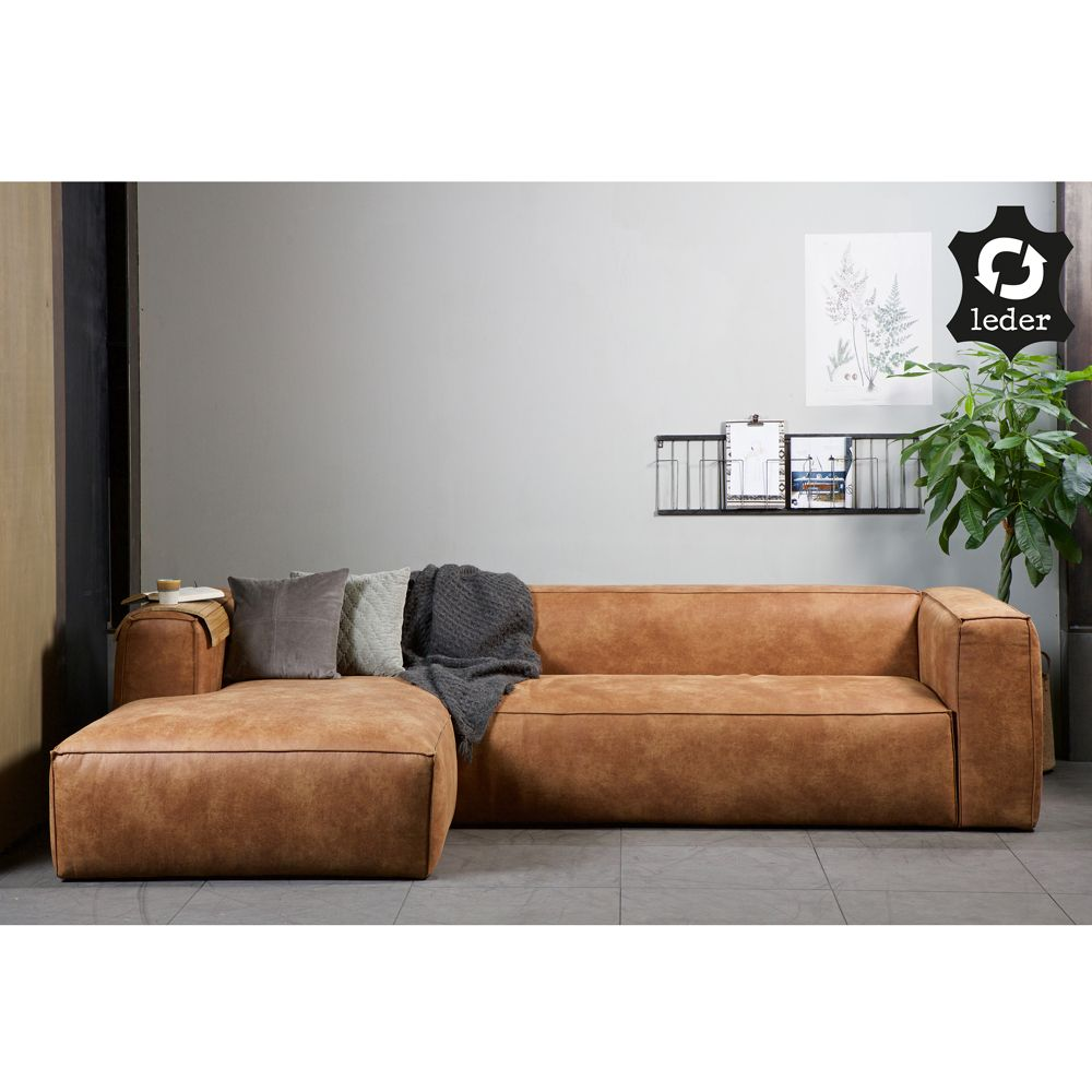eckgarnitur bean leder cognac couch polster sofa ecksofa longchair links ecksofa couch und. Black Bedroom Furniture Sets. Home Design Ideas