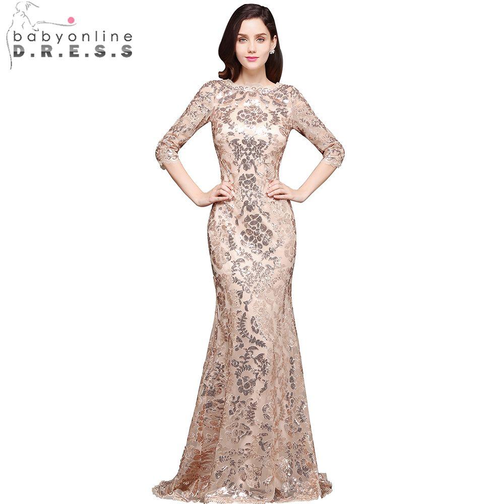Babyonline sleeves sequin mermaid evening dresses long