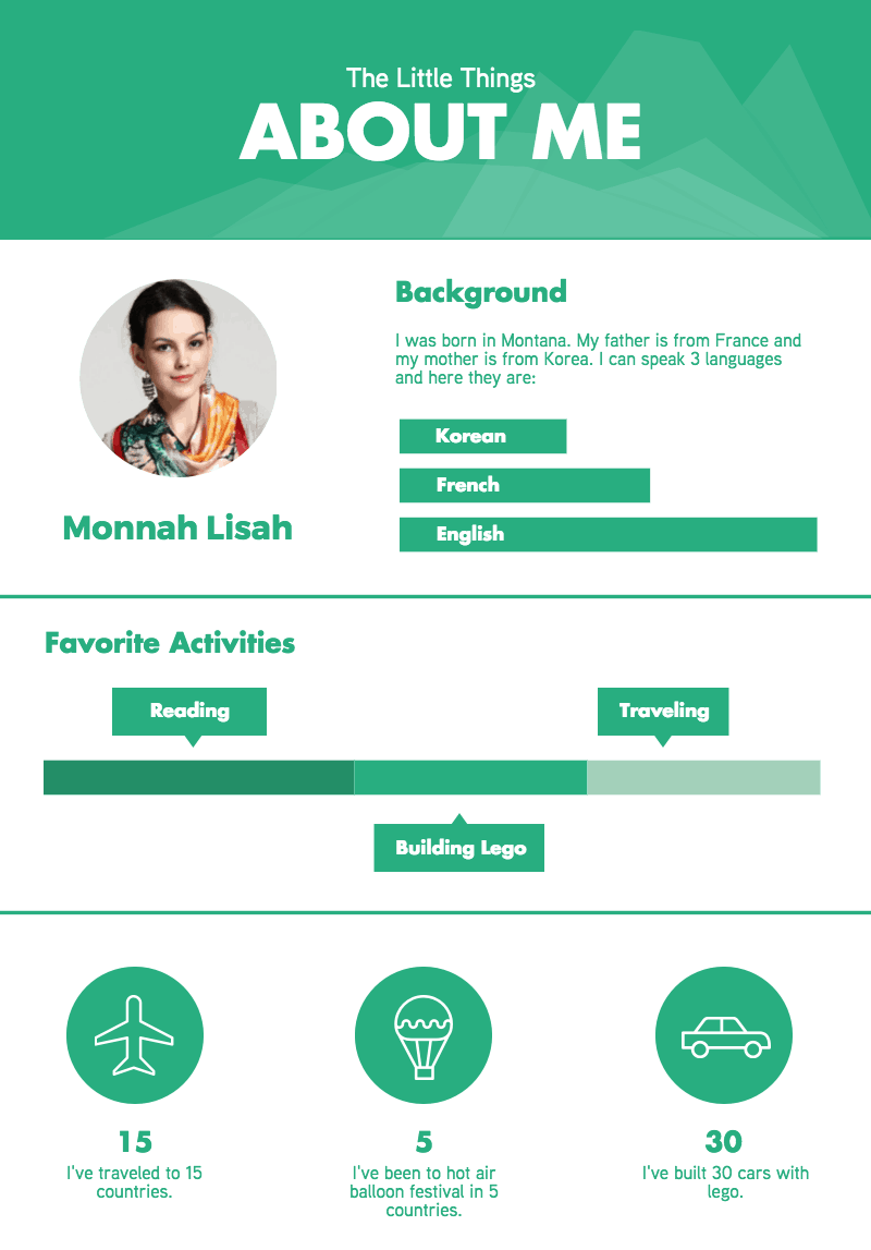 About Me, Travel, and Storyboard Infographics Templates in
