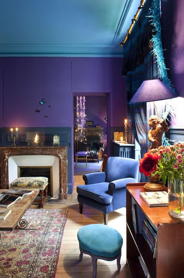 Blue Ceiling And Purple Walls A Match Made In Jewel Toned Heaven
