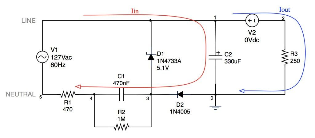 Capacitivetransformerlesspowersupply Circuit Is A Type Of Power Supply That Uses The Capacitive Reactance Of A Capaci Electronics Circuit Capacitor Circuit