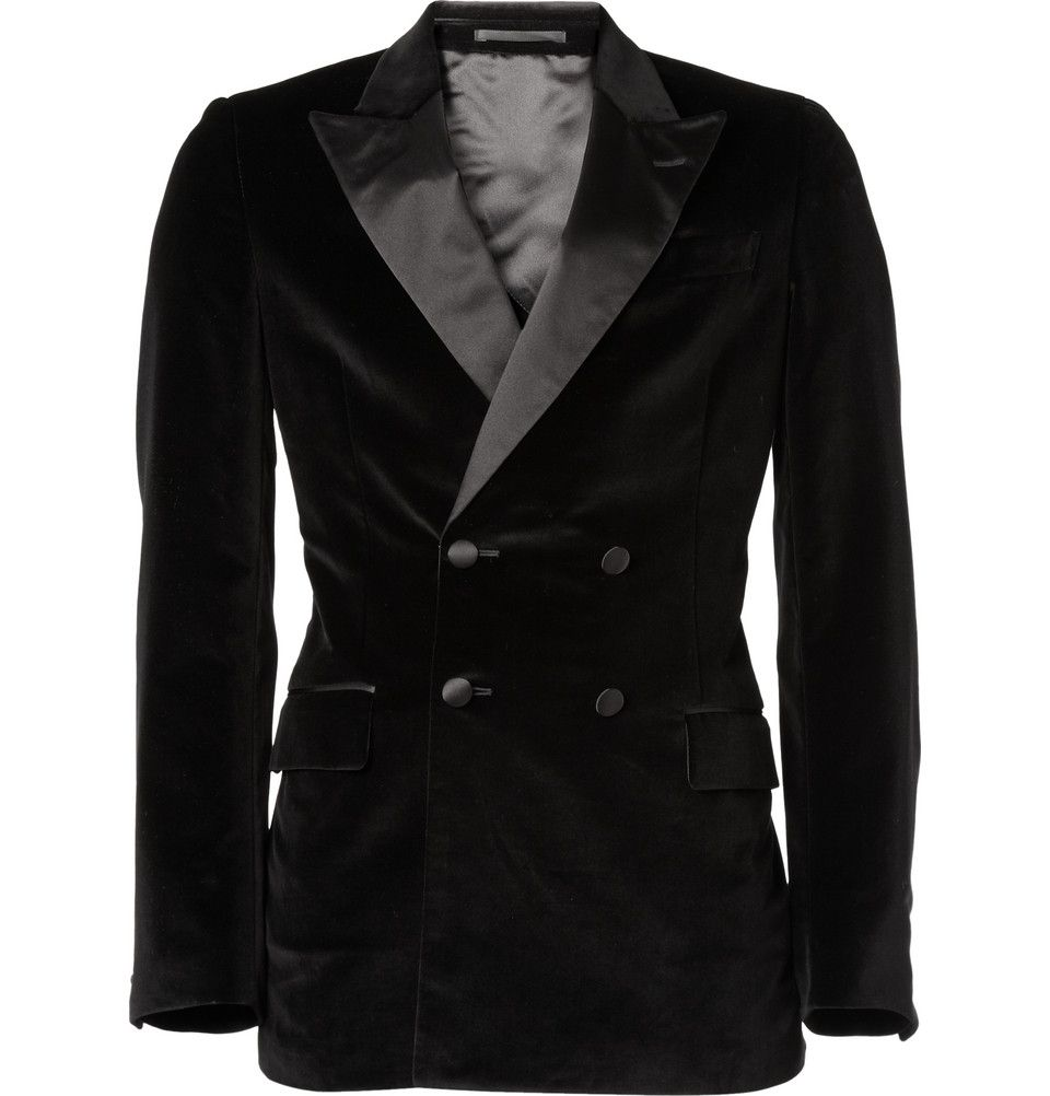 609a754469a For the dapper gentleman with confidence: Stunning double breasted, peak  lapel velvet dinner jacket from YSL - are you man enough?
