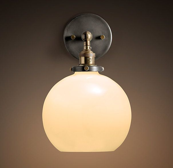 Bathroom Lighting Remodelista: 20th C. Factory Filament Milk Glass Café Sconce In 2019