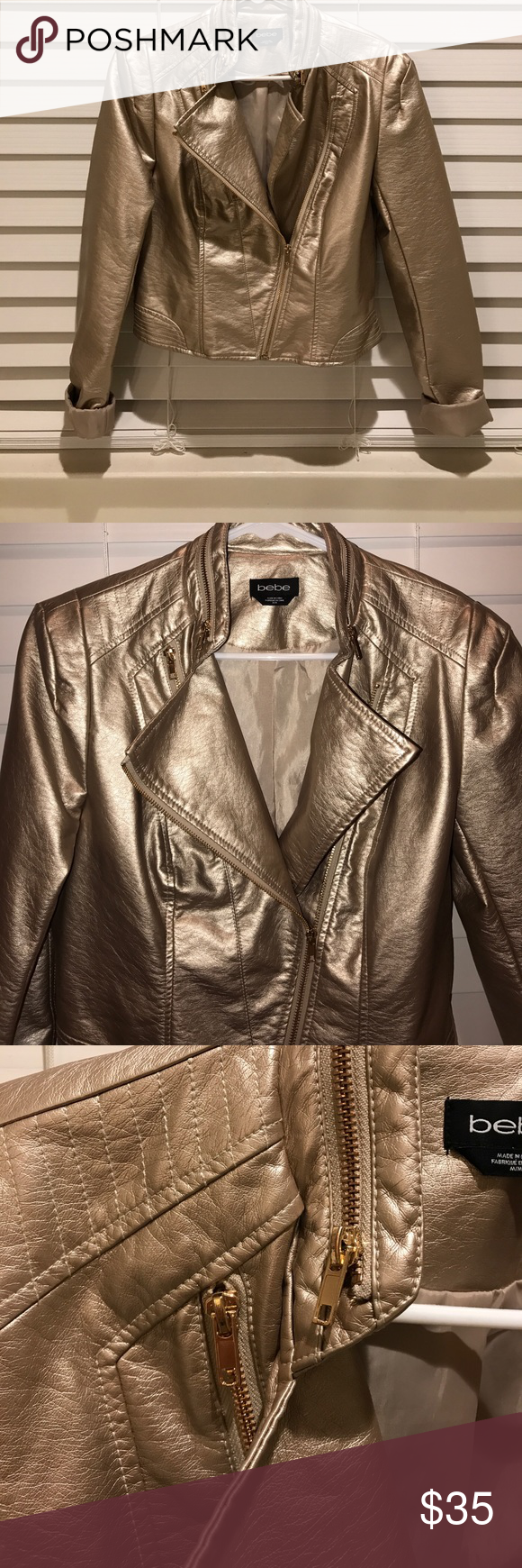 BeBe soft gold leather jacket Matte gold soft leather-look Moto jacket with gold zipper details. Lined. Never worn. Very flattering! bebe Jackets & Coats Blazers