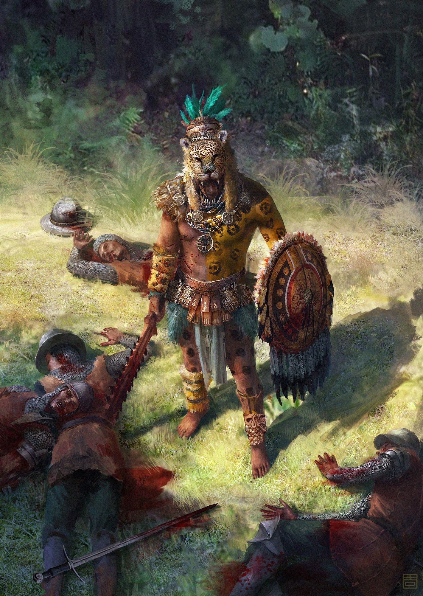 Artstation Jaguar Warrior Qiang Zhou Mayan Art Aztec Art Aztec Warrior