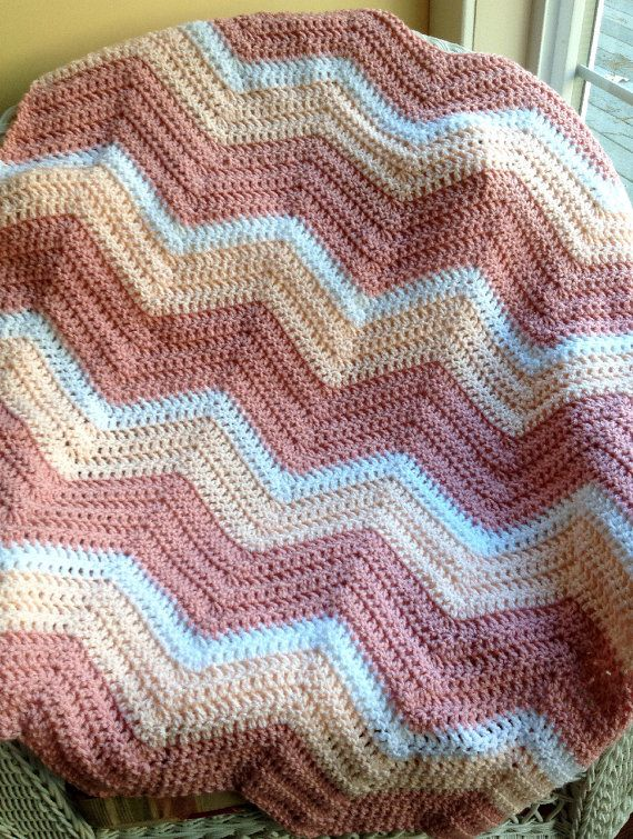 chevron zig zag baby blanket afghan wrap crochet photo prop ...