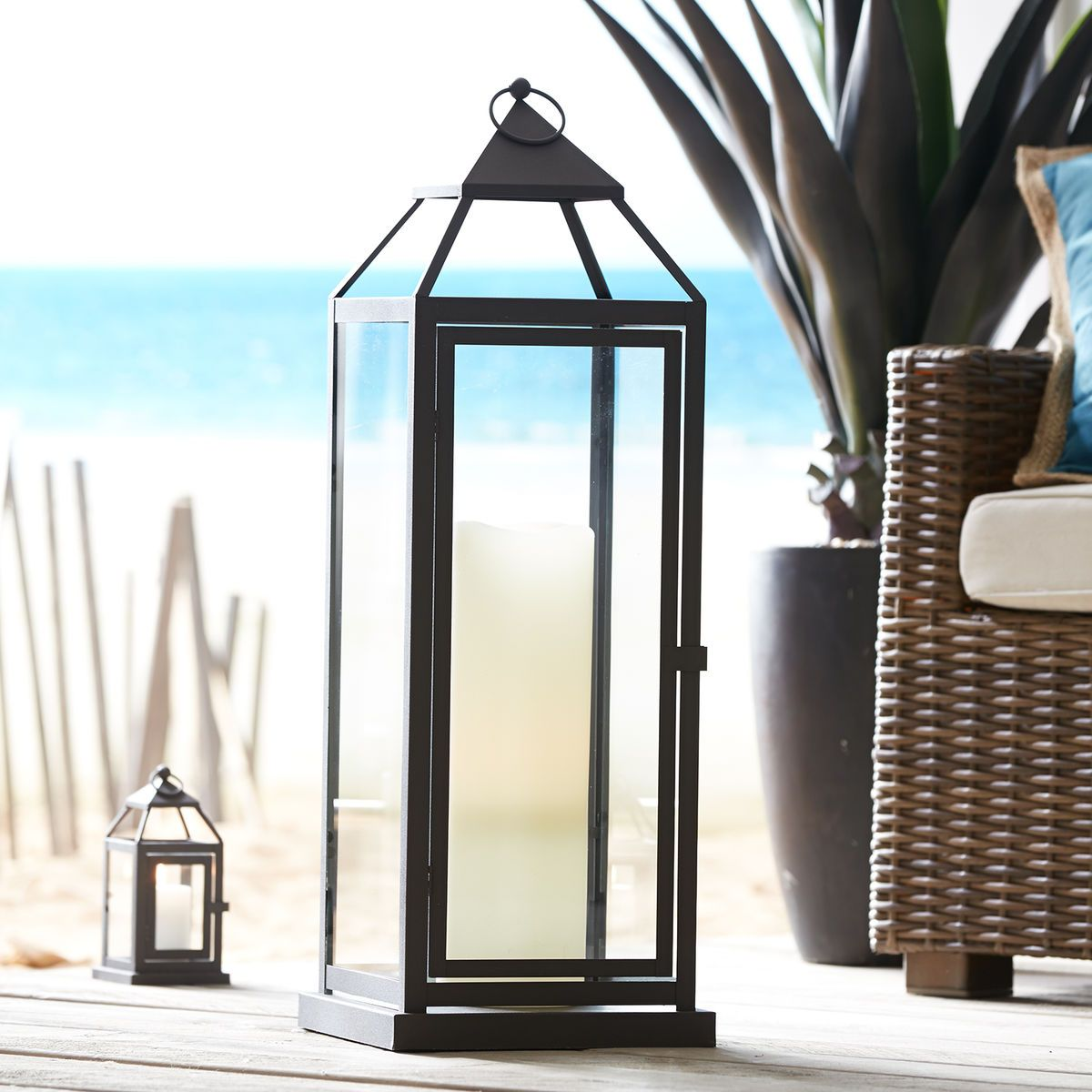 Landen Lantern Black Extra Large Large Outdoor Lanterns Large Floor Lanterns Glass Lantern