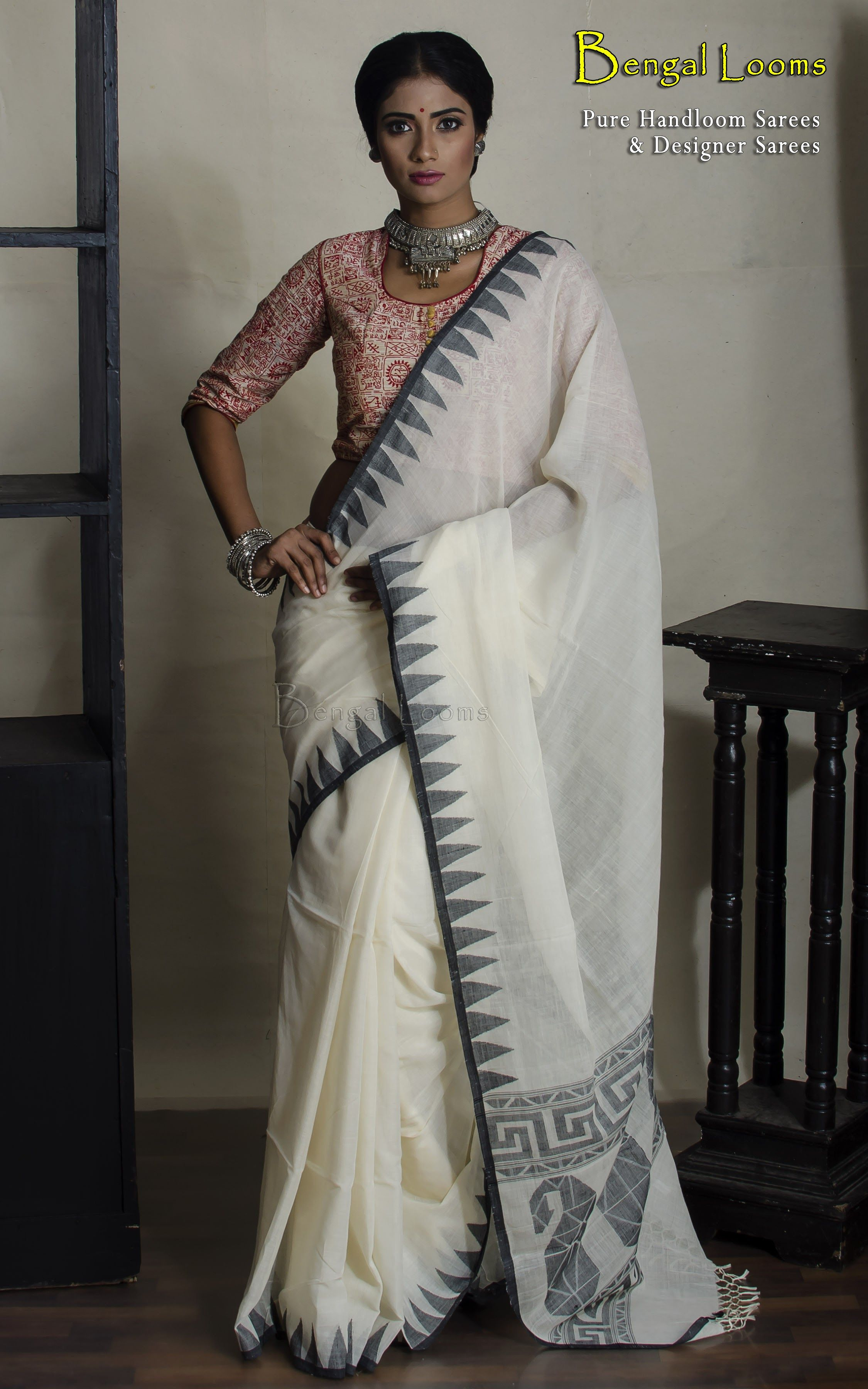 1957ea5d09 Black and white handloom khadi soft cotton saree with temple border ...
