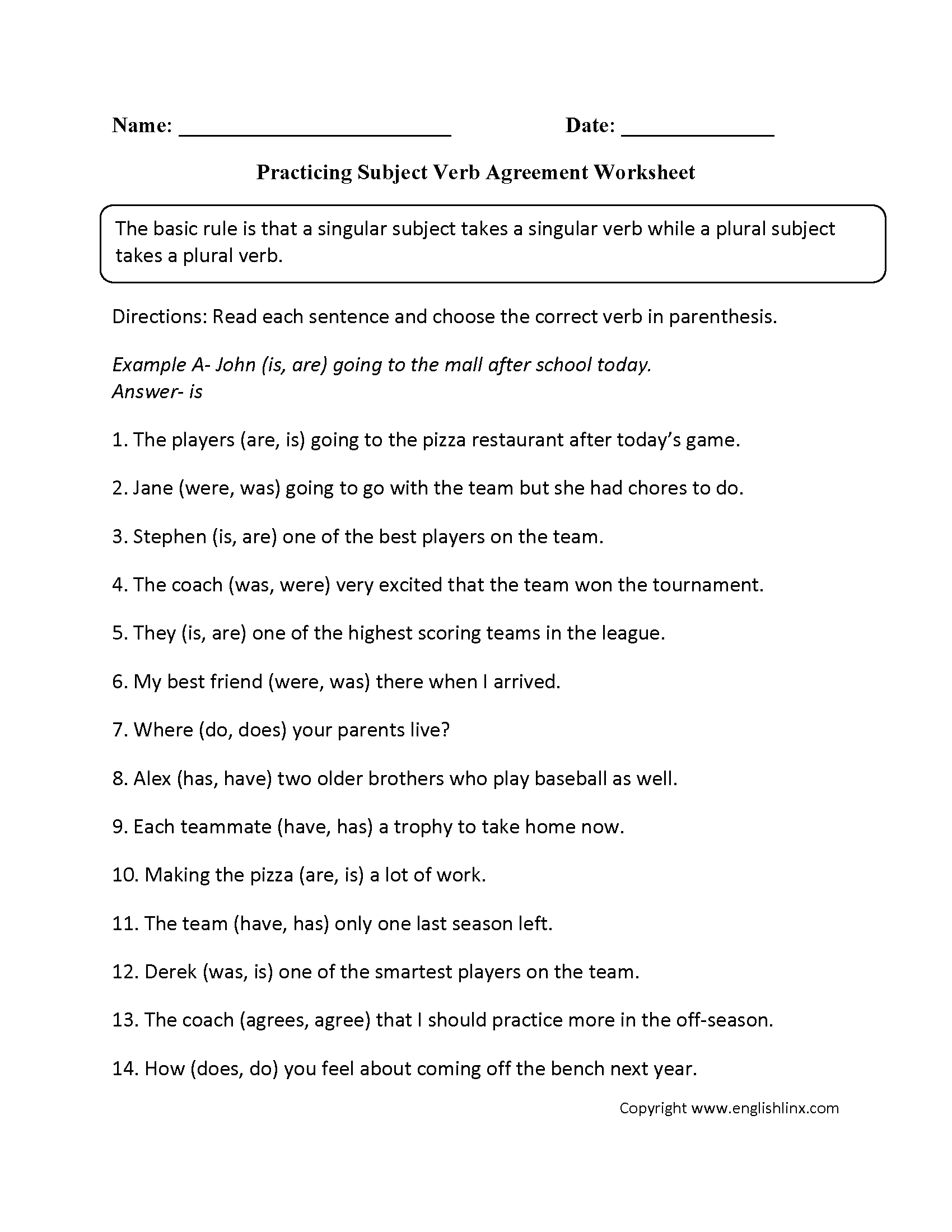 Practicing Subject Verb Agreement Worksheet