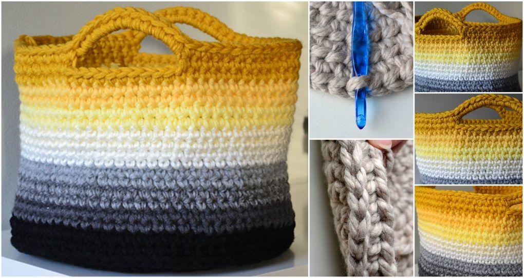 Crochet Ombre Basket   croché   Pinterest   Invierno, Para el hogar ...