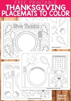 Free Printable Thanksgiving Placemats to Color - Trail Of Colors