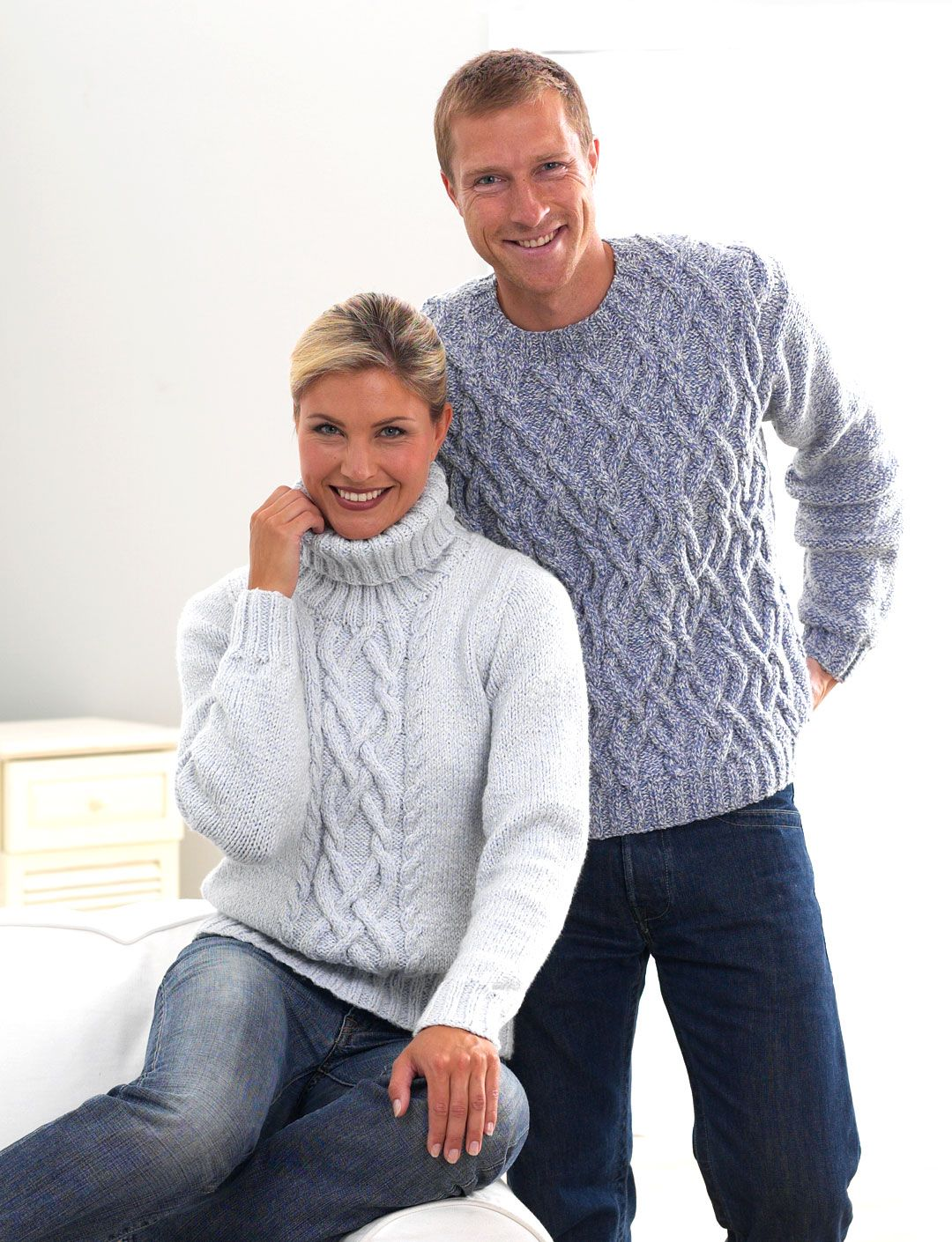 His and Her Aran Knits by Bernat Design Studio - free | Suéteres ...