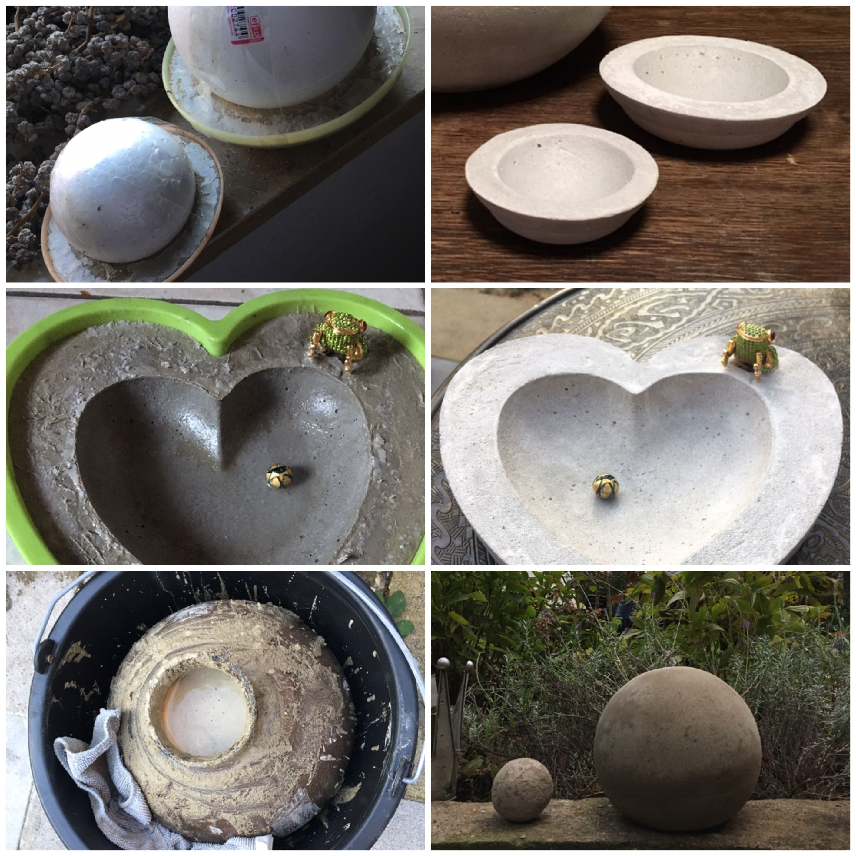 diy vogeltr nke schalen und dekokugel aus beton beton pinterest vogeltr nke basteln. Black Bedroom Furniture Sets. Home Design Ideas