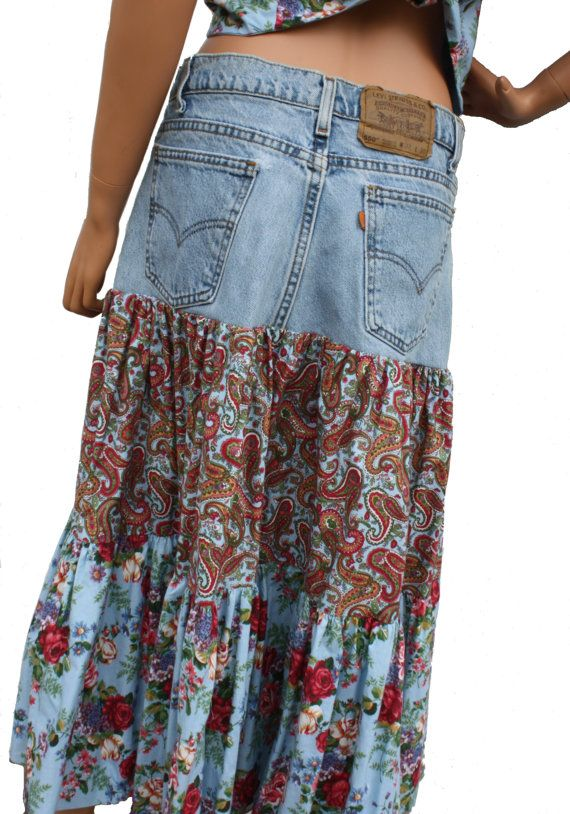 0236358dbd7902 Custom Upcycled Denim Skirt Tiered Womens Skirt Handmade Boho Hippie  Clothes Made from YOUR Own Jeans
