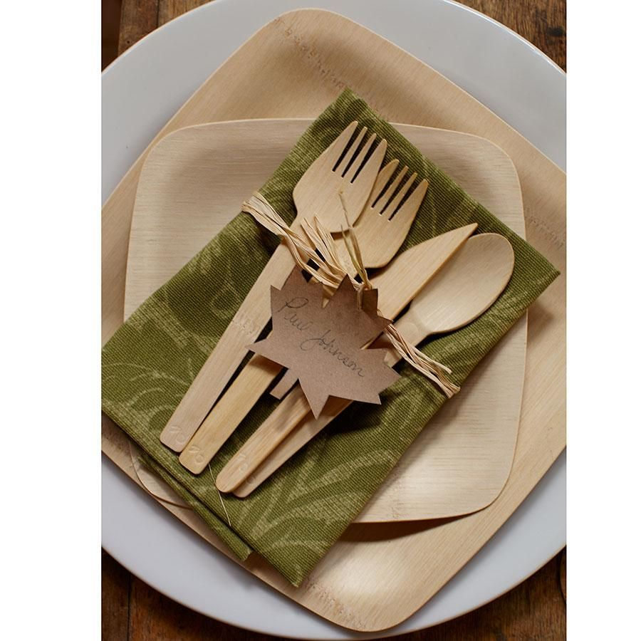 disposable biodegradable birch flatware and bamboo plates 11  dia. plates - $95/  sc 1 st  Pinterest & Eco-gecko Heavy Weight Disposable Wooden Fork - 100/Pack | Wedding ...