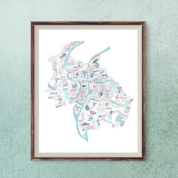 Idee Cadeau Lyon.Lyon Map Travel Art French City Poster Lyon Wall Print