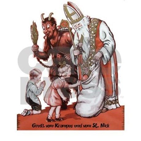 One child was good and it looks like one was bad. Krampus hands out spankings to the bad children while St. Nick hands out toys to the good ones. Have you been good this year? If not, beware the Kramp